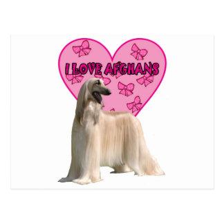 I Liebe-Afghanen, afghanischer Hund, großer Hund Postkarte