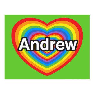 I Liebe Andrew. Liebe I Sie Andrew. Herz Postkarte