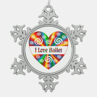 I Liebe-Ballett Schneeflocken Zinn-Ornament