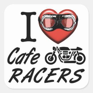 I Liebe-CaféRacers Quadratischer Aufkleber