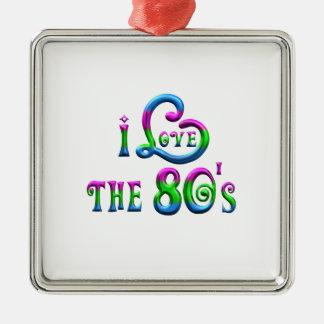 I Liebe der 80er Quadratisches Silberfarbenes Ornament