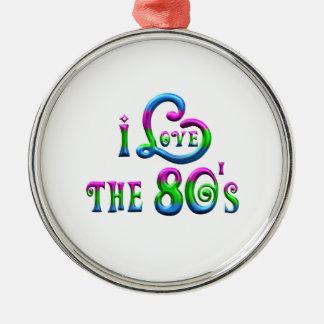 I Liebe der 80er Rundes Silberfarbenes Ornament