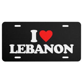 I LIEBE DER LIBANON US NUMMERNSCHILD