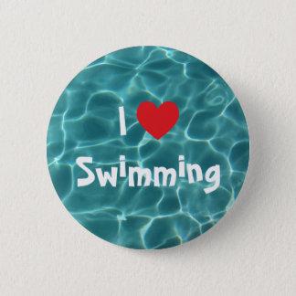 I Liebe, die rotes Herz mit Aqua-Pool-Wasser Runder Button 5,1 Cm