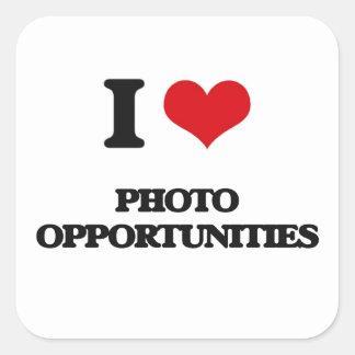 I Liebe-Foto-Gelegenheiten Quadratischer Aufkleber