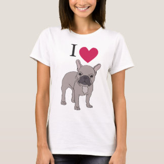 I Liebe-französische Bulldoggen-Herz-niedlicher T-Shirt