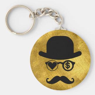 I Liebe-Geld-London-Schnurrbärte Schlüsselanhänger