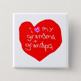 I Liebe-Großmutter und Großvater Quadratischer Button 5,1 Cm