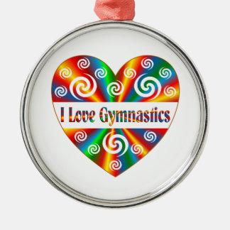 I Liebe-Gymnastik Rundes Silberfarbenes Ornament