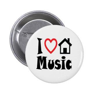 I Liebe-Haus-Musik-Knopf Runder Button 5,7 Cm