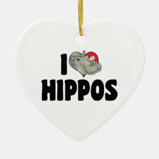 I Liebe-Herz-Flusspferde - Hippopotamus-Liebhaber Keramik Herz-Ornament