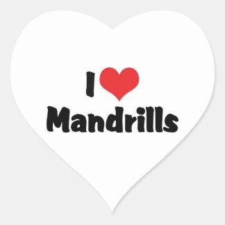 I Liebe-Herz Mandrills Herz-Aufkleber