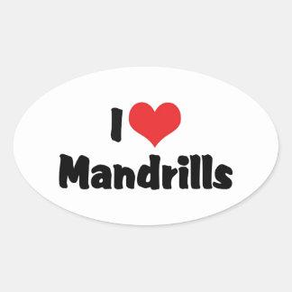 I Liebe-Herz Mandrills Ovaler Aufkleber