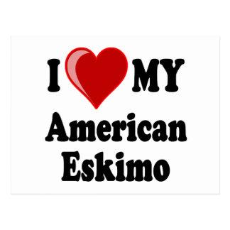I Liebe (Herz) mein amerikanischer Eskimohund Postkarten