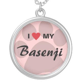 I Liebe (Herz) mein Basenji Tatzen-Druck Halskette Mit Rundem Anhänger