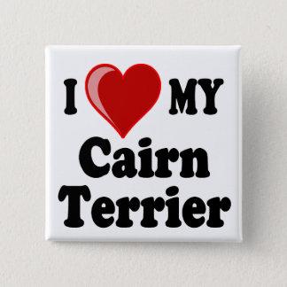 I Liebe (Herz) mein Cairn-Terrier-Hund Quadratischer Button 5,1 Cm