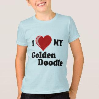 I Liebe (Herz) mein goldener Gekritzel-Hundeshirt T-Shirt