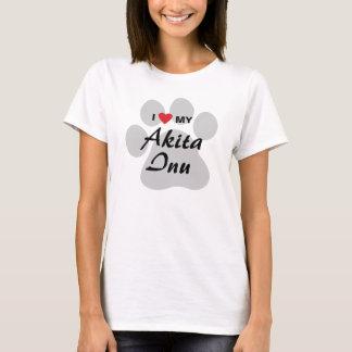 I Liebe (Herz) mein Tatzen-Druck Akitas Inu T-Shirt