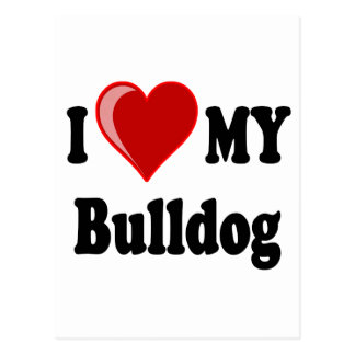 I Liebe (Herz) meine Bulldogge Postkarte