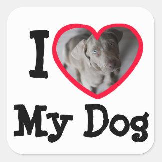 I Liebe (Herz) meine Hundepersonalisierten Quadratischer Aufkleber
