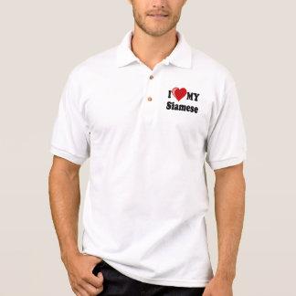 I Liebe (Herz) meine siamesische Katze Polo Shirt