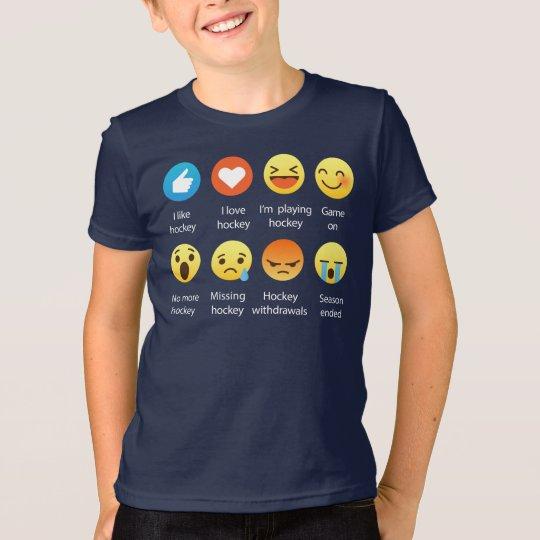 I Liebe HOCKEY SozialEmoticon (emoji) - weißer T-Shirt