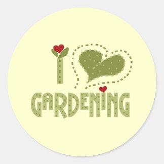 I Liebe-im Garten arbeitent-shirts und Geschenke Runder Aufkleber