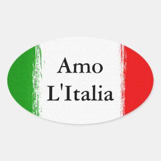 I Liebe Italy.Flag von Italien Ovaler Aufkleber