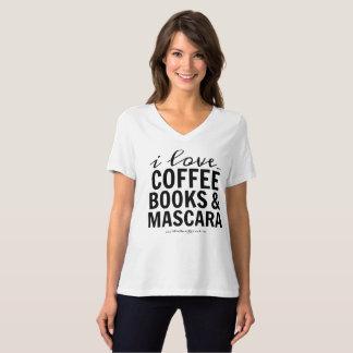 I Liebe-Kaffee-Bücher u. Wimperntusche T-Shirt