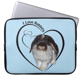 I Liebe-Kaninchen-Laptop-Hülse (hellblau) Laptop Sleeve