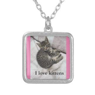 I Liebe-Kätzchen-Silber und rosa Halskette