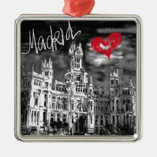 I Liebe Madrid Silbernes Ornament