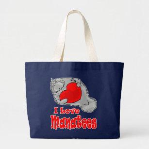 I Liebe-Manatis-Taschen-Tasche Jumbo Stoffbeutel