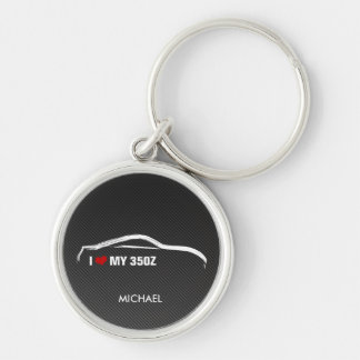I Liebe mein 350Z mit Imitat Kohlenstofffaser Silberfarbener Runder Schlüsselanhänger