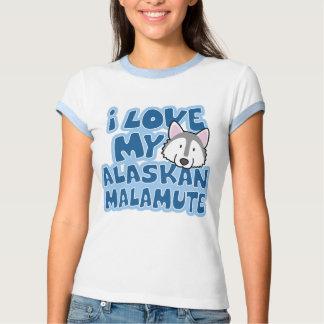 I Liebe mein alaskischer Malamute-Damen-Wecker-T - Hemden