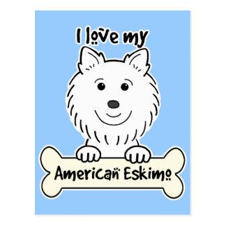 I Liebe mein amerikanischer Eskimohund Postkarte