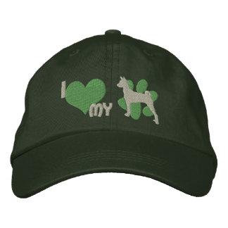 I Liebe mein Basenji gestickter Hut (Grün)