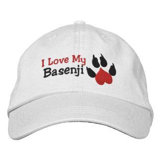 I Liebe mein Basenji Hundetatzen-Druck Bestickte Baseballkappe