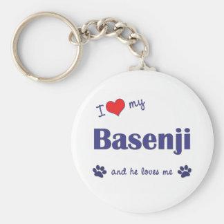 I Liebe mein Basenji (männlicher Hund) Standard Runder Schlüsselanhänger