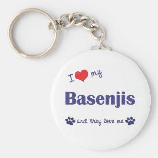 I Liebe mein Basenjis (mehrfache Hunde) Standard Runder Schlüsselanhänger