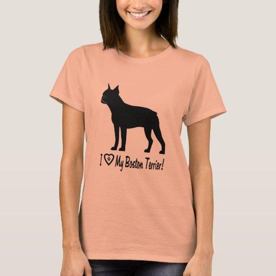 I Liebe mein Boston-Terrier mit Tatzen-Drucken im T-Shirt