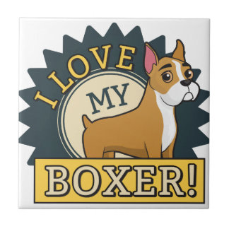 I Liebe mein Boxer Keramikfliese
