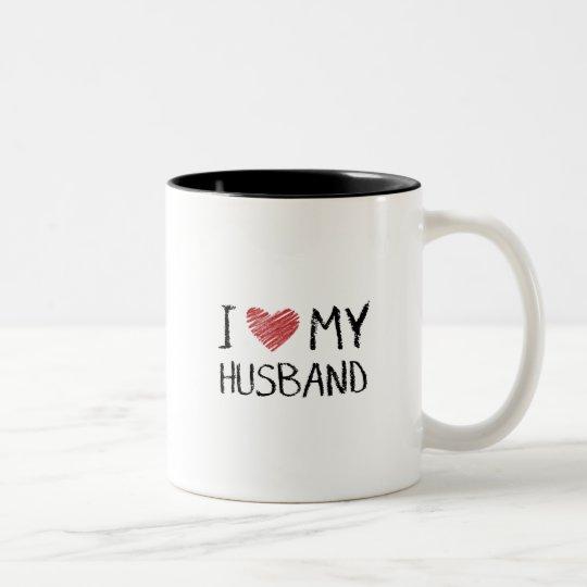I Liebe mein Ehemann Zweifarbige Tasse