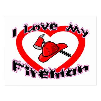 I Liebe mein Feuerwehrmann Postkarte