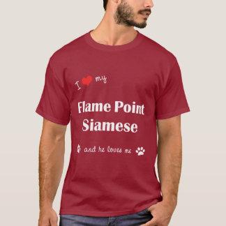 I Liebe mein Flammen-Punkt siamesisch (männliche T-Shirt