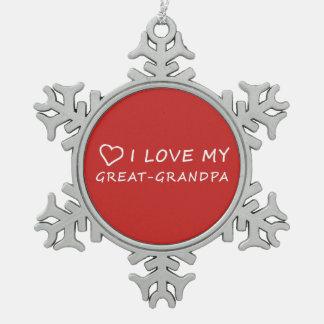 I Liebe mein Groß-Großvater mit Herzen - roter Schneeflocken Zinn-Ornament