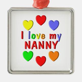 I Liebe mein Kindermädchen Quadratisches Silberfarbenes Ornament