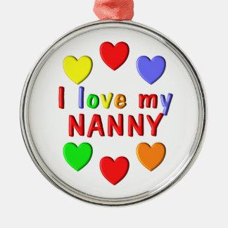 I Liebe mein Kindermädchen Rundes Silberfarbenes Ornament