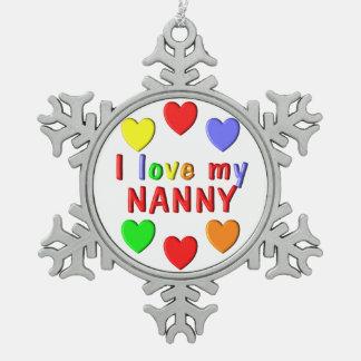 I Liebe mein Kindermädchen Schneeflocken Zinn-Ornament