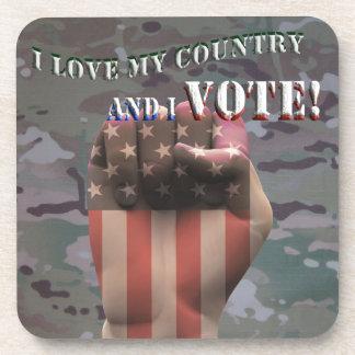 I Liebe mein Land und ich wählen Untersetzer